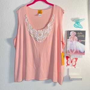 Ruby Rd. pink sleeveless knit top